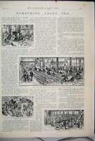 Original Old Antique Print 1893 Tea Chests Blending Tasting Rooms United Kingdom