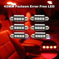 6 x Red 4SMD Error Free LED Map/Dome Interior Lights Bulbs 42MM Festoon