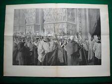 Incisione enorme - Milano nel 1895 - Congresso eucaristico, ricevimento vescovi