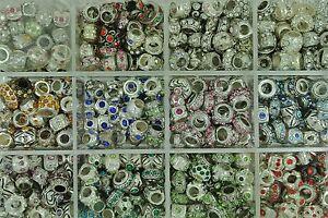 Mix of 20 Rhinestone Tibet Silver Beads Fits European Charm Bracelet