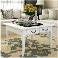 White Coffee Table 4 Drawers Storage Magazines Square Living Room Furniture