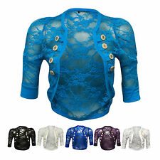New Womens Rouched 3/4 Sleeve Military Style Floral Ladies Lace Shrug Balero Top