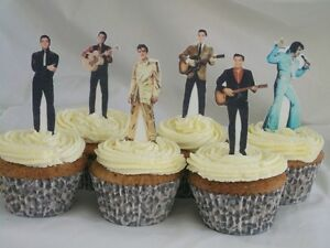 12 Elvis Presley PRE CUT WAFER Edible CupCake Toppers STAND UPS