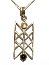 "925 STERLING SILVER LATTICE MOONSTONE & BLACK ONYX PENDANT 18"" STS CHAIN BNWOT"