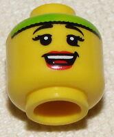 LEGO NEW MINIFIGURE HEAD FEMALE WITH GREEN HEADBAND SMILE MINIFIG FACE