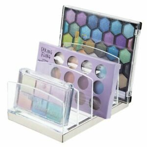 mDesign Plastic Makeup Organizer for Bathroom, 5 Sections - Clear/Brushed