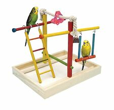 Bird Play Gym Parrot Perch Stand Pet Cage Toy Birds Activity Center Wood Playpen