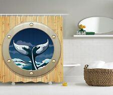 Blue Beige Boat Porthole Ocean Nautical Sea Fabric Shower Curtain Bathroom