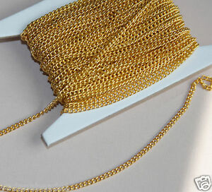 32ft of Gold Plated Small Jewelry Curb Chain 2.2mm