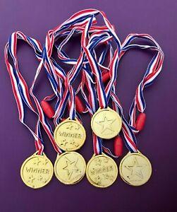 Kids Gold Plastic Winner Medal & Lanyard Sports Day Reward