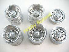 A Set  1/14 R/C  3-Axle 6X4 Tractor Truck  ALLOY WHEELS  SILVER  Rims re Tamiya