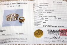 Certificate 18k& diamond best south sea natural keshi pearl ring 8.24 grams
