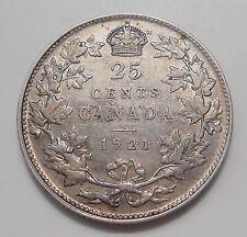 1921 Twenty-Five Cents F-VF Beauty aVF SCARCE Date KEY George V Canada Quarter