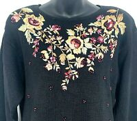 Vtg 1998 Heirloom Collectables Womens Sweater Black Floral Embroidered Beaded M