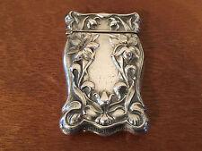 Antique Sterling Silver Match Safe Vesta Case w/ Repousse Flowers Decoration