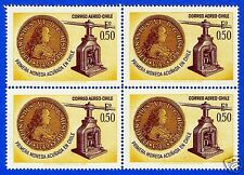 CHILE, FIRST COIN MINTAGE IN CHILE, BLOCK OF FOUR, YEAR 1968