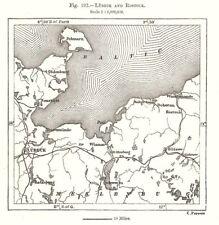 Lübeck and Rostock. Mecklenburg. Germany. Sketch map 1885 old antique