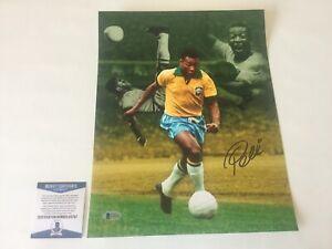 Pele Signed Autographed 11X14 Brazil Brasil Photo BECKETT BAS COA a