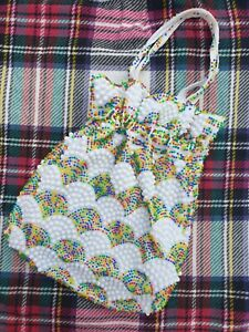 Vintage 1960's Rainbow Beaded Purse Bag Plastic Handbag Drawstring Pouch Mod