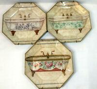 Wall Plate Decorative Victorian Bathroom Bathtub Set of 3 Wall Hangers