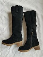 TERVOLINA Women's Black Suede Leather Knee High Boots. Size UK 3, EU 36, US 5.