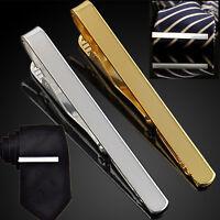 Fashion Mens Necktie Tie Bar Clasp Clip Cufflinks Set Simple Gift Silver Gold