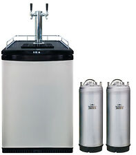 Mangrove Jacks Twin Tap Kegerator & 2 Kegs Beer Fridge home brew dual font tower