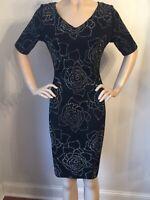 NWT St John Knit Black Caviar Evening dress size 10 santana knit Jewel Design