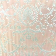 Classic Satin Pink Stripe Wallpaper with Silver Damask by Porcelain Prints 19492