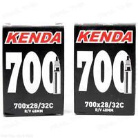Two (2) Pack Kenda 700 x 28 / 32c 48mm Smooth Presta Valve Road Bike Inner Tubes