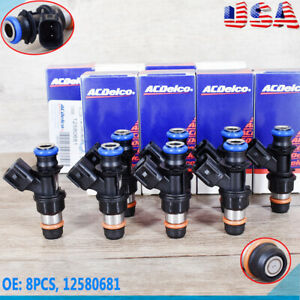 8pc Fuel Injector 12580681 Fit AC Delco 04-10 Chevy GMC 4.8 5.3 6.0 6.2 217-1621