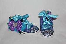 Converse bling rhinestone purple under sea Minnie 2 3 4 5 6 7 8 9 girl shoes NEW
