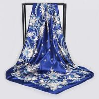 Women Chinese Roses Silk Scarf Shawl Wrap Satin Blue Large Square Scarves Autumn