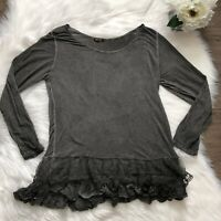 Lola Italy Lace Trim Peplum Top Scoop Neck Long Sleeve Gray Sz L Burnout Blouse
