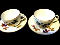 ROYAL WORCESTER   EVESHAM DESIGN  TWO BREAKFAST CUPS AND TWO SAUCERS
