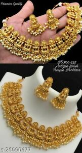 Indian Bollywood Style Gold Plated Choker Necklace Earrings Temple Jewelry Set