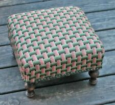 Antique Arts Crafts Wooden Footstool Geometric Fabric Foot Stool Bench Turnip Ft