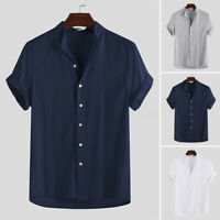 INCERUN Men's Collarless Button Down Shirt 100%Cotton Short Sleeve T Shirt Tops