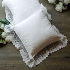 Cuscino Arredo con Pizzo su Tulle Shabby Chic 40x40 Colore Bianco