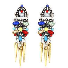 Woman's Punk Rock Metal Gold bright Rhinestones rivet temperament earrings