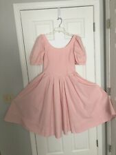 Vtg 80's Laura Ashley Pastel Pink Cotton Tea Party Puff Sleeve Dress Size US 14