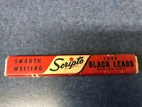 Vintage Scripto smooth writing long black leads box E 630 - wood insert for lead