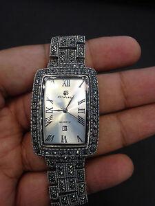 Vintage Herren Solid 925 Stempel Sterlingsilber Dubai Armbanduhr - 21.6cm