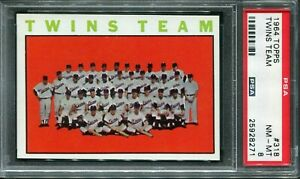 1964 Topps #318 Twins Team Card PSA 8 NM-MT