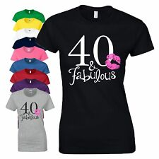 40th Birthday Gift T-Shirt 40 And Fabulous Kiss Lips Love Women Ladies Tee Top