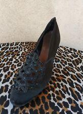 Vtg 1920s Black Satin Evening Shoes Pumps Heels Us7