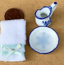 Soapy Water Blue And White Jug Towel & Wash Bowl Tumdee 1:12 Scale Dolls House