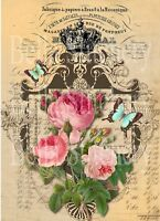 Shabby Chic Roses and Butterflies Collage #2 - 8x10 Quilt & Craft Fabric Block
