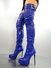 CQ COUTURE PLATFORM CUSTOM OVERKNEE BOOTS STIEFEL STIVALI LEATHER BLUE BLU 35