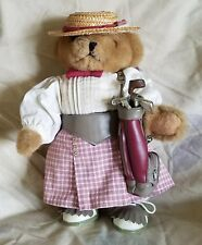 "Golfing Teddy Bear Vintage Lady Tender Heart Treasures 12"" arms & legs move 1992"
